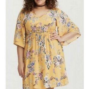 Torrid | yellow floral bell sleeve dress size 2XL
